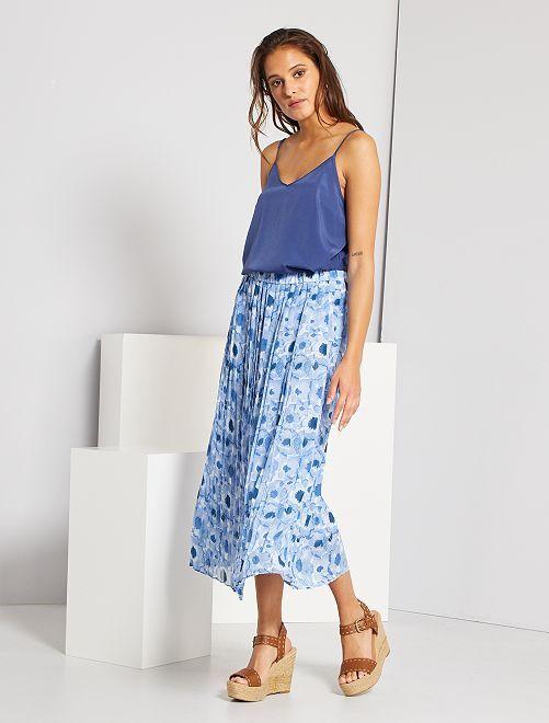 Jupe plissée longueur midi                                                                                         bleu imprimé