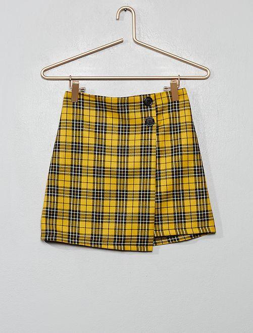 Jupe portefeuille à carreaux                             carreaux jaune