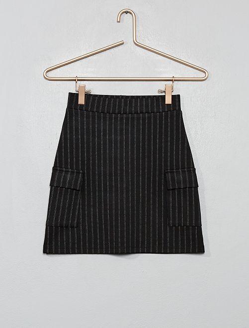 Jupe rayée à poches                             noir