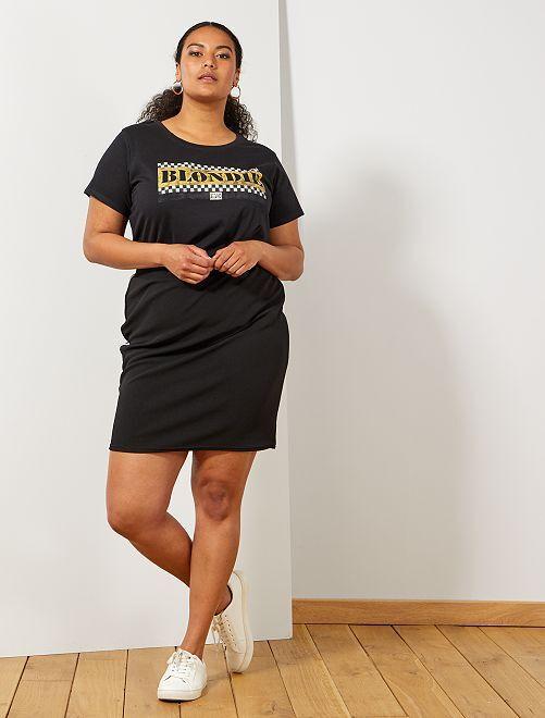 Jupe tube avec bandes côté                             noir/blanc Grande taille femme