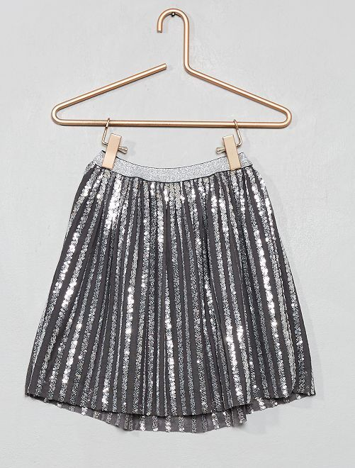 Jupe tulle rayures sequins                                         gris