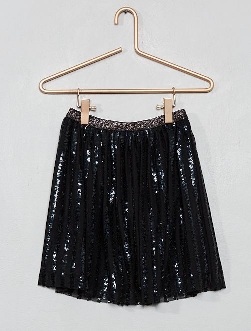 Jupe tulle rayures sequins                                         noir