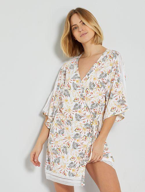 Kimono 'Envie de Lingerie'                             blanc imprimé
