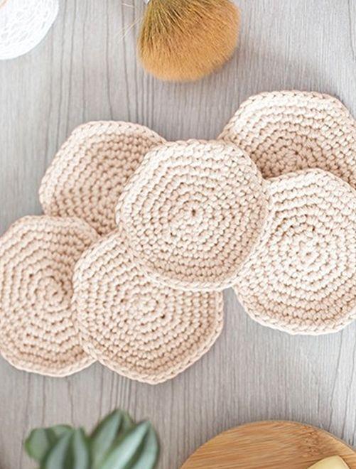Kit crochet 'disques à démaquiller'                                                     beige clair