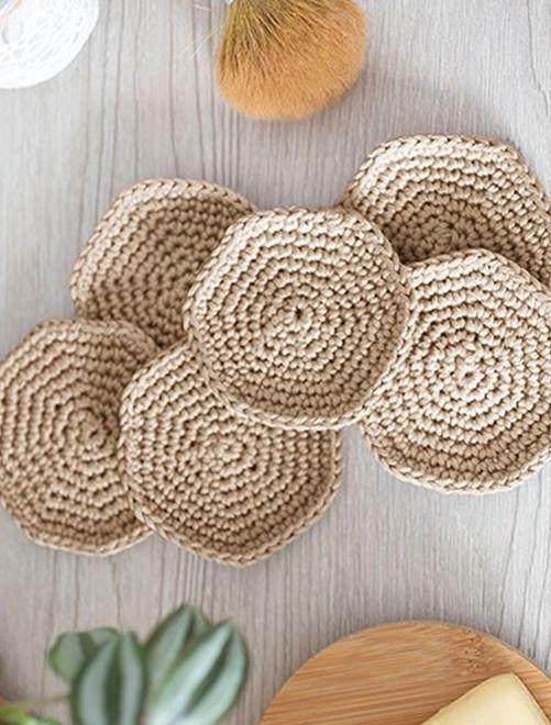 Kit crochet 'disques à démaquiller'                                                     beige foncé
