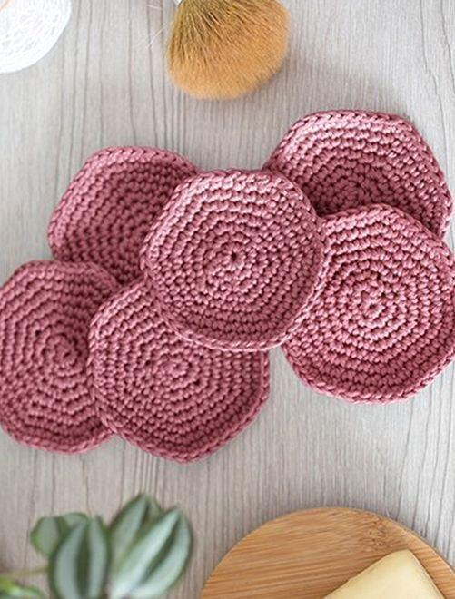 Kit crochet 'disques à démaquiller'                                                     rose