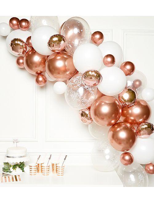Kit de 66 ballons pour arche                             rose/blanc