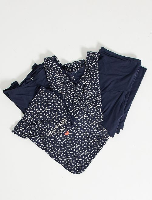 Kit grossesse t-shirt + gilet + pantalon                                                                 bleu fleuri