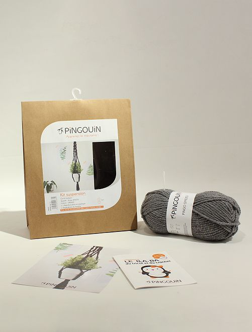 Kit macramé - Suspension 'PINGOUIN'                                                     gris
