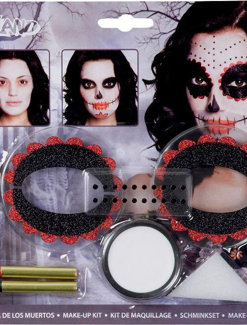 Kit maquillage 'Dia de los muertos'                             noir/rouge
