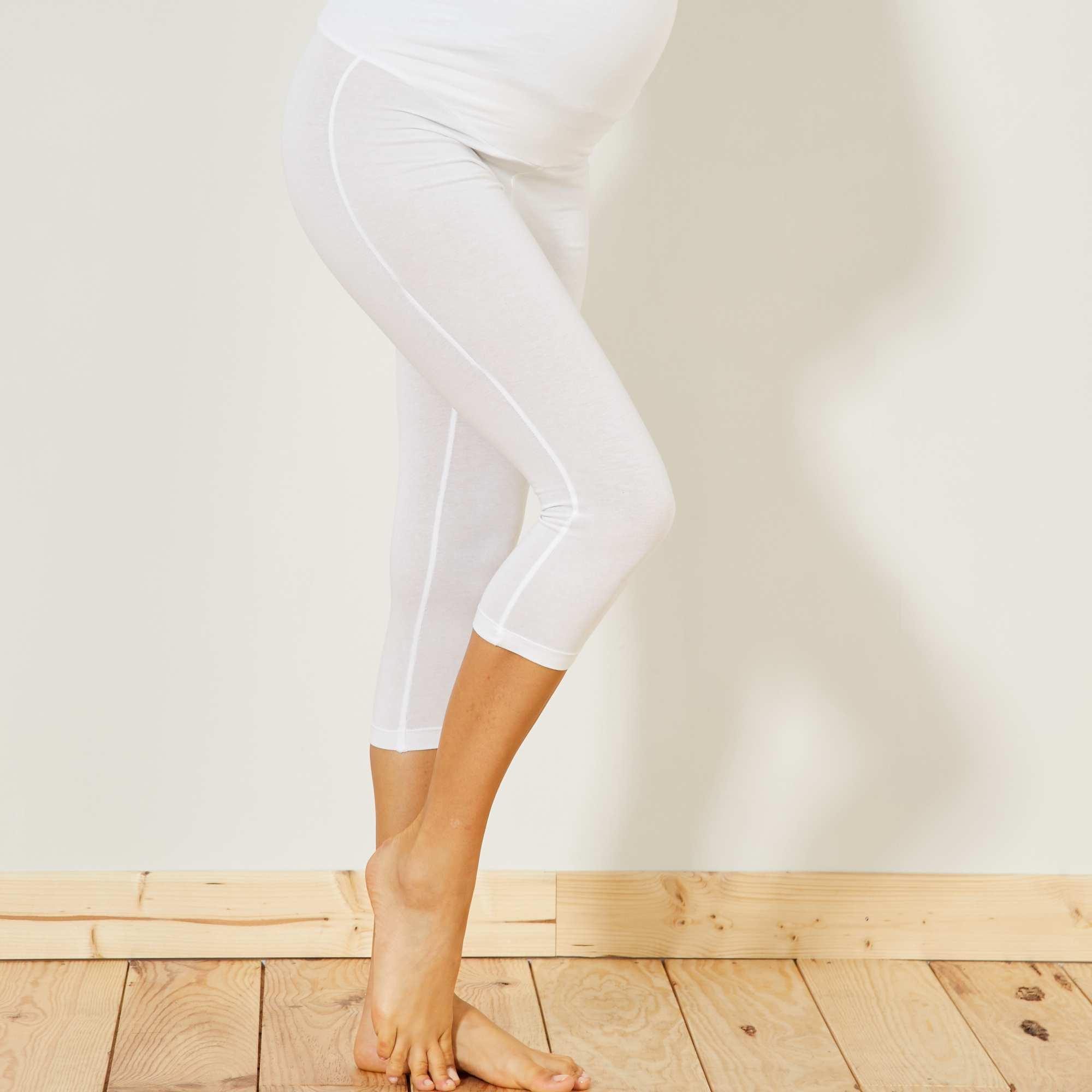 Couleur : blanc, noir, ,, - Taille : 46/48, 38/40, 50/52,42/44,34/36Mettez-vous à l'aise grâce au legging court en coton extensible, taille haute