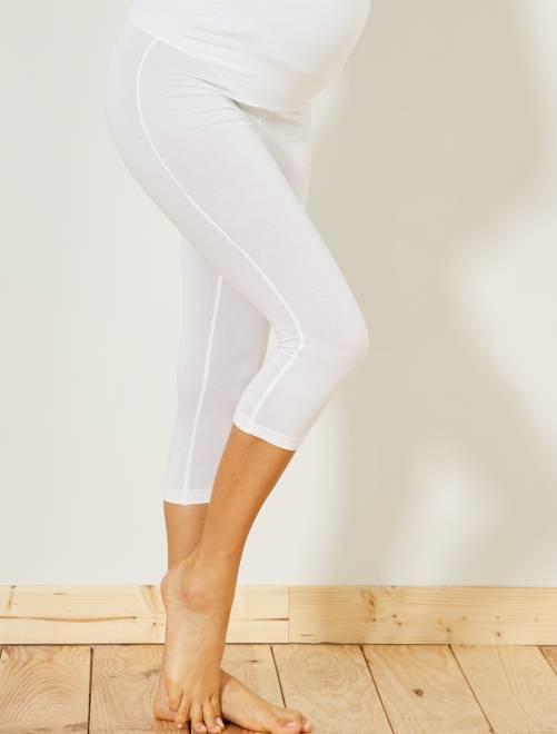Legging de maternité maille extensible                                                     blanc Vêtement de grossesse