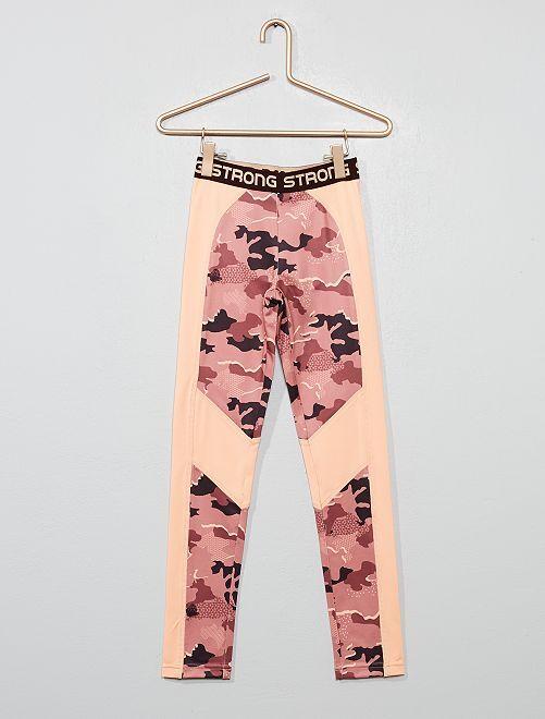 Legging de sport bicolore                                                     rose camouflage
