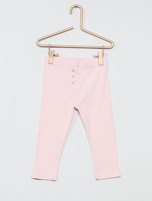 Legging en maille côtelé                                                                 rose/pois