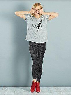 Femme du 34 au 48 Legging fibre métallique