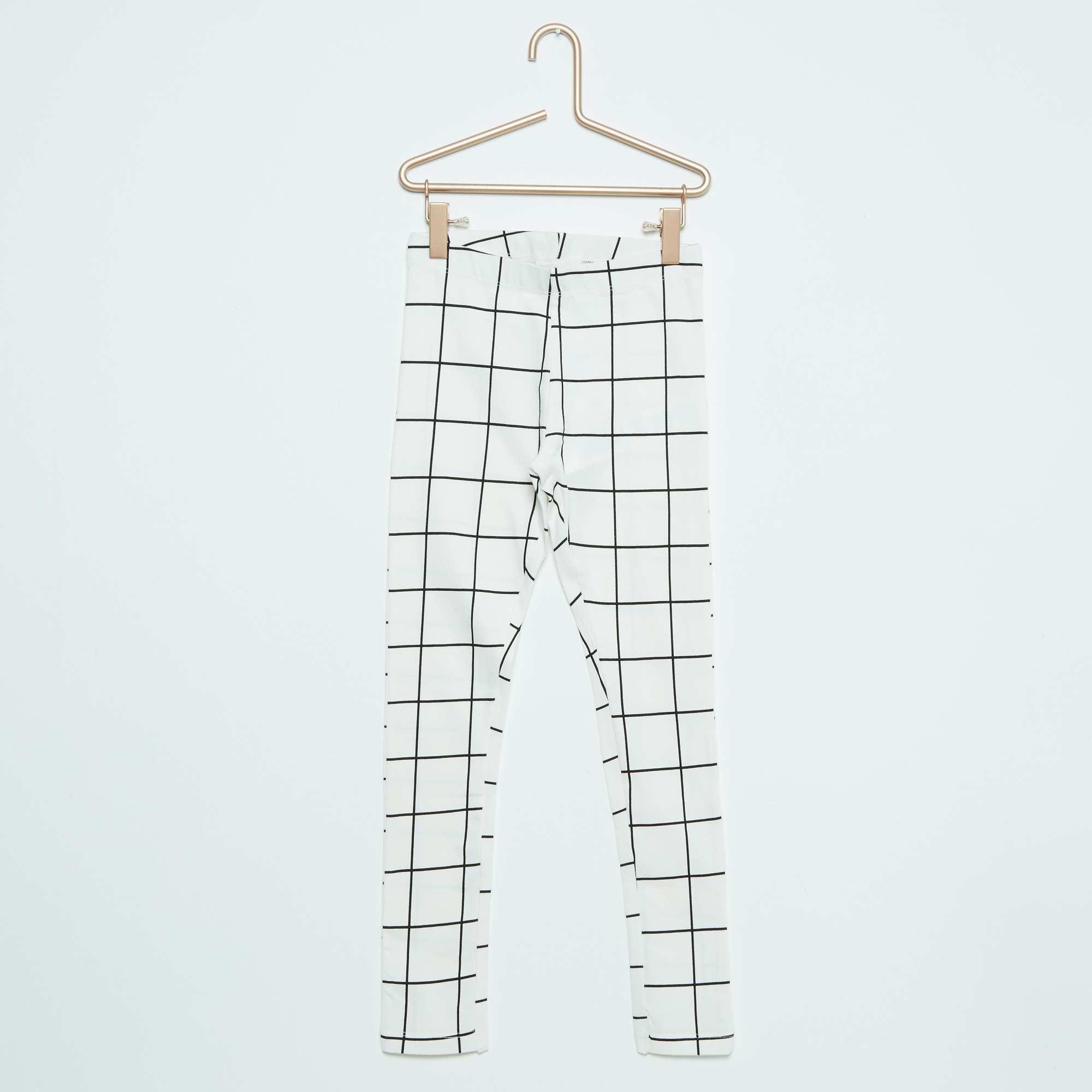 Couleur : beige carreaux, BEIGE, ,, - Taille : 8A, 2A, ,,Un classique qu'on adore, le legging à motifs ! - Legging long - Taille élastiquée