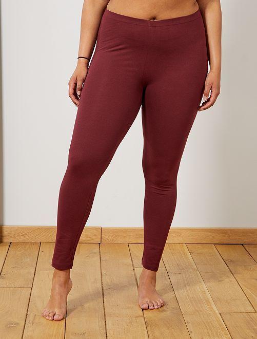 Legging long coton stretch                                                                 bordeaux foncé Grande taille femme