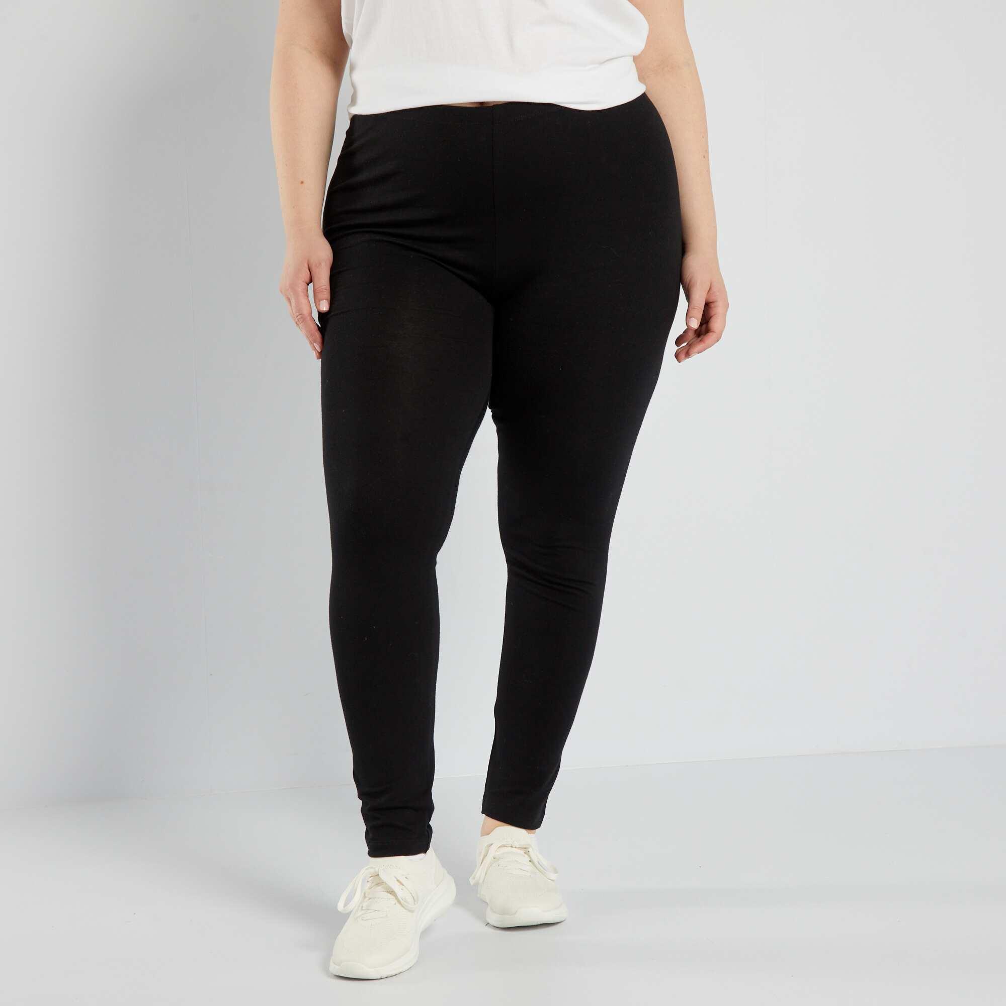 legging long coton stretch grande taille femme noir kiabi 9 00. Black Bedroom Furniture Sets. Home Design Ideas