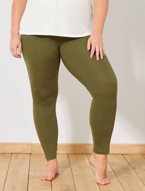 Legging long coton stretch                                                                 vert kaki Grande taille femme