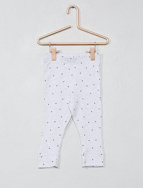 ae177b8a49d61 Legging pur coton imprimé Bébé fille - gris chiné - Kiabi - 3