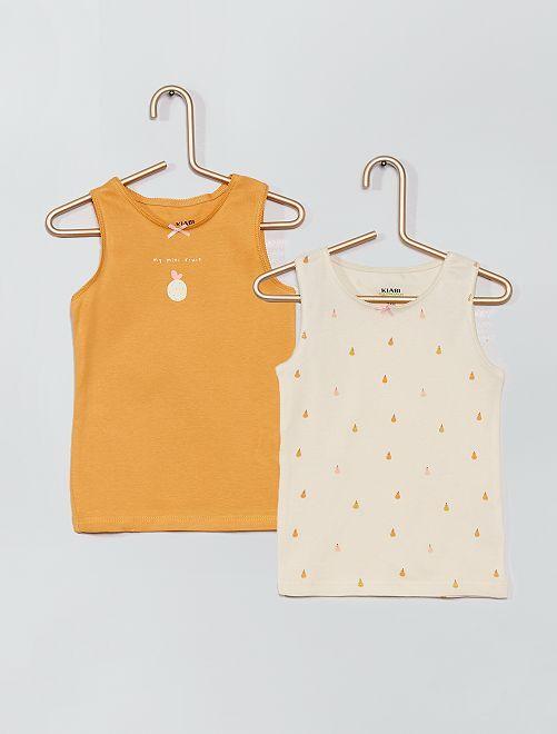Lot 2 maillots de corps éco-conçus                                         jaune/fruits