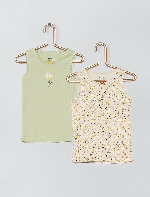 Lot 2 maillots de corps éco-conçus                                         vert/fleurs