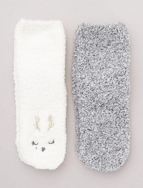 Lot 2 paires chaussettes antidérapantes                                                                 gris/écru