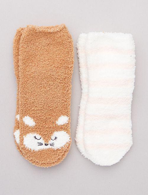 Lot 2 paires chaussettes antidérapantes                                                                 marron