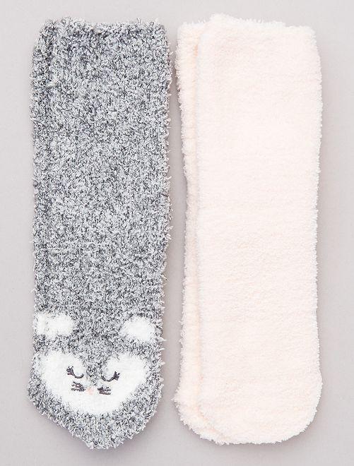 Lot 2 paires chaussettes antidérapantes                                                                 rose/gris