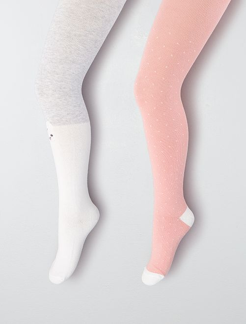Lot 2 paires de collants                                                     gris/rose