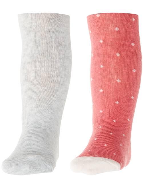 Lot 2 paires de collants unis et imprimés                                                     rose/gris Bébé fille