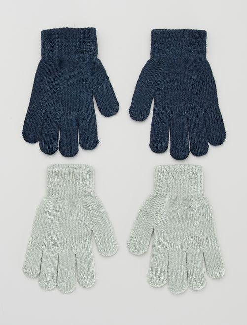 Lot 2 paires de gants                     marine/gris