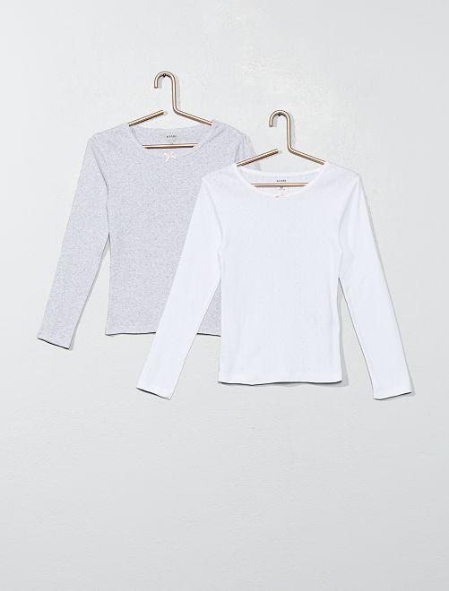 Lot 2 T-shirts coton bio 'éco-conception'                             blanc/gris