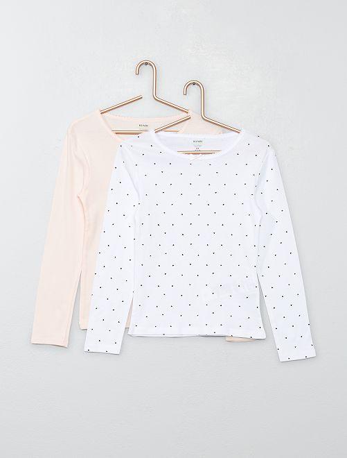 Lot 2 T-shirts coton bio 'éco-conception'                             blanc/rose
