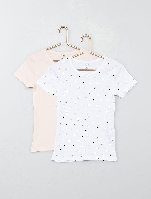 Lot 2 T-shirts coton bio 'éco-conception'                             rose/blanc