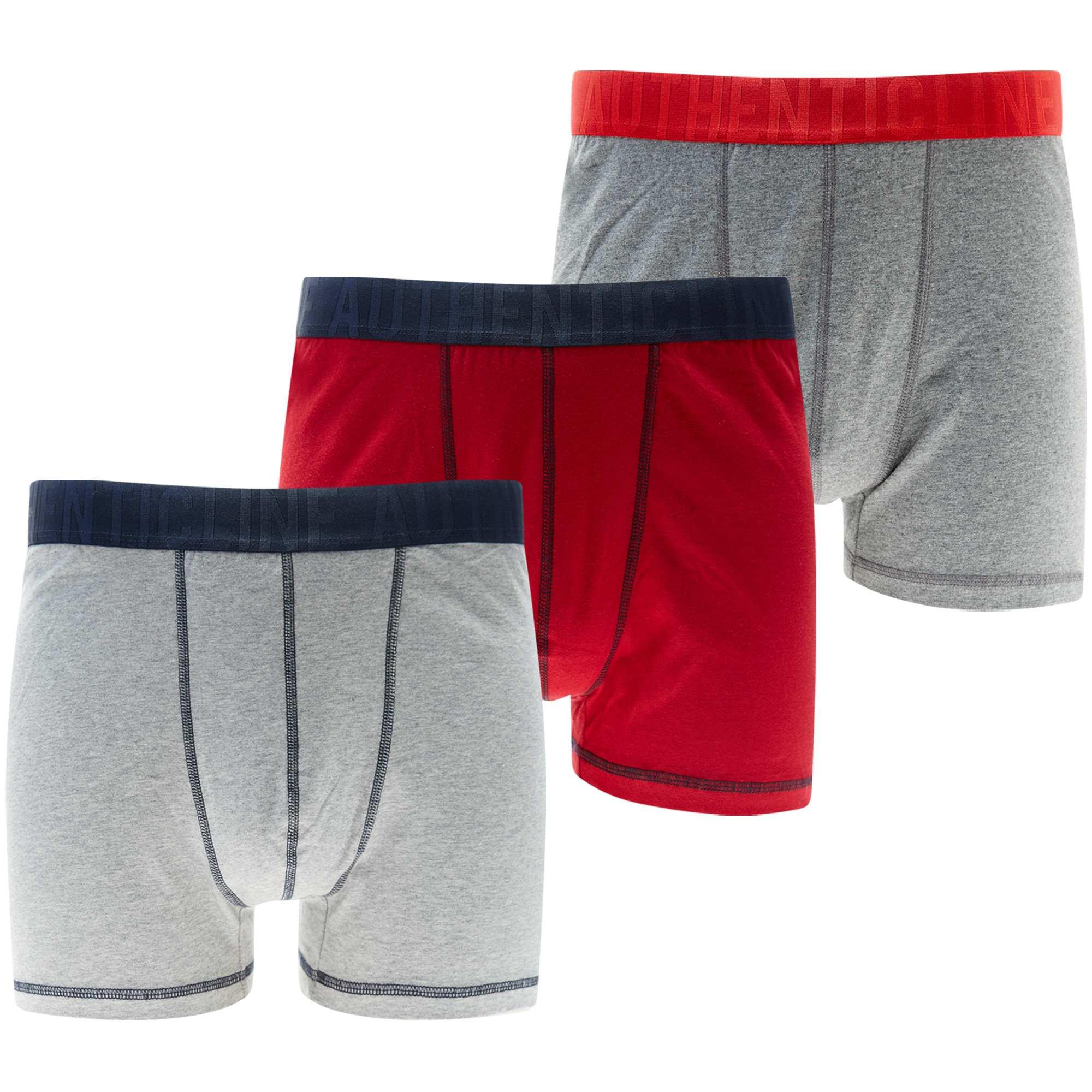 Couleur : gris/rouge, , ,, - Taille : 5XL, 3XL, 4XL,6XL,Lot de 3 boxers grande taille en maille chinée. - En coton stretch - Taille élastique