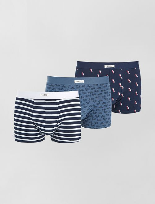 Lot 3 boxers stretch                                                                                                                             bleu marine