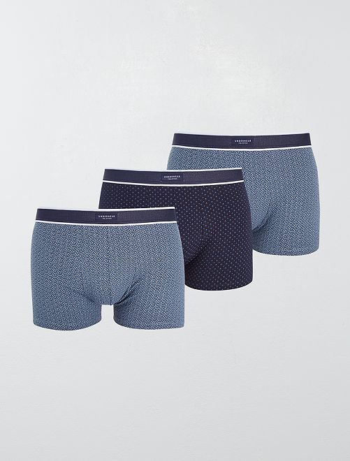 Lot 3 boxers stretch                                                                                         bleu marine/bleu clair