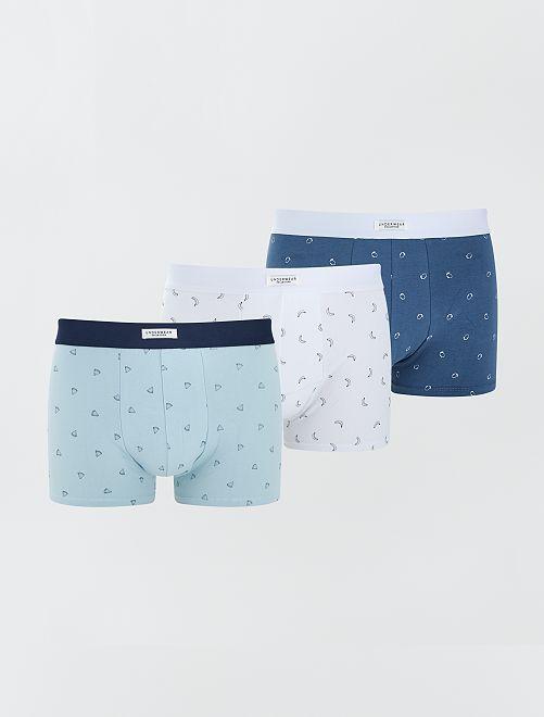Lot 3 boxers stretch                                                                                                                             bleu/blanc/fruits