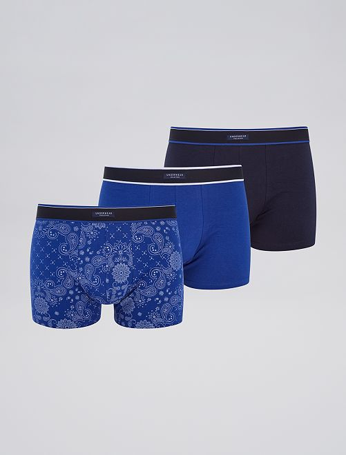 Lot 3 boxers stretch                                                                                         bleu/noir