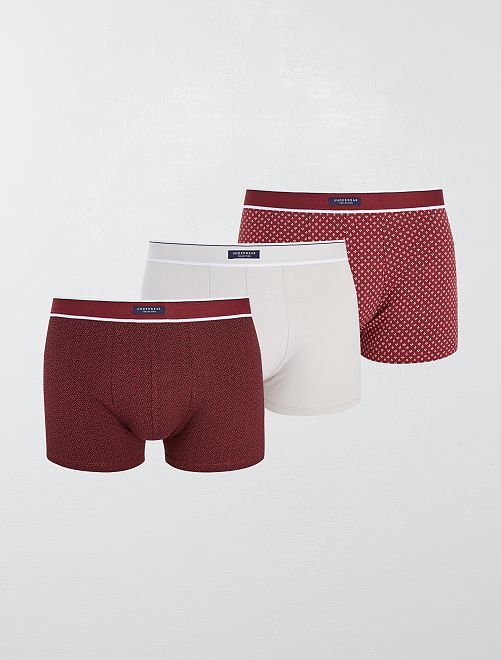 Lot 3 boxers stretch                                                                                         bordeaux/gris