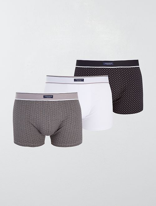Lot 3 boxers stretch                                                                                         noir/gris/blanc