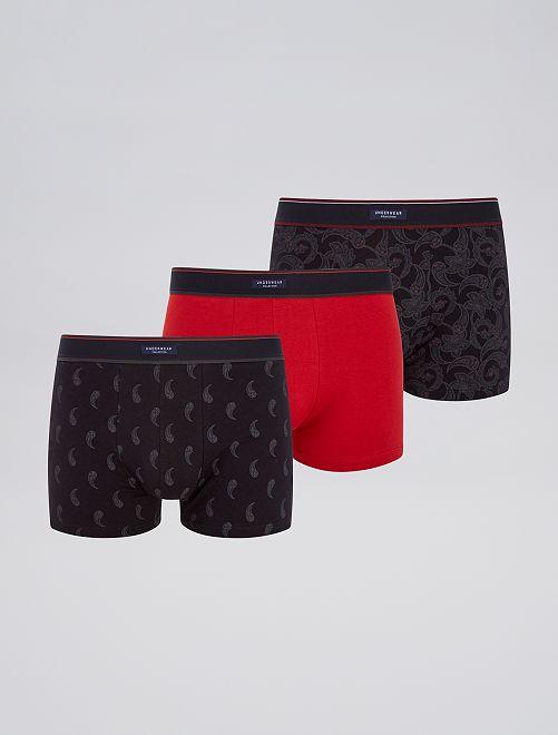 Lot 3 boxers stretch                                                     noir/rouge