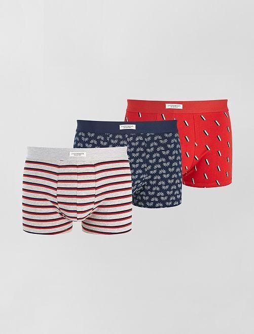 Lot 3 boxers stretch                                                                                         rouge/bleu/gris