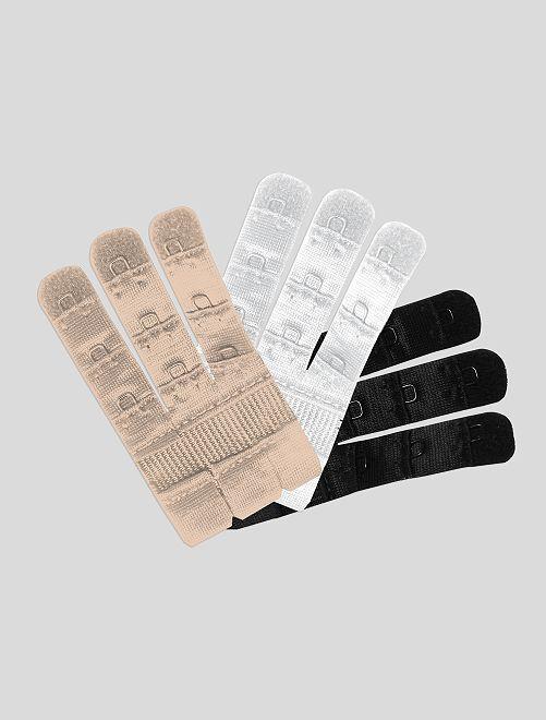 Lot 3 extensions de soutien-gorge 'Bye Bra'                             beige/blanc/noir