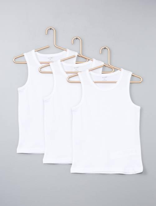 Lot 3 maillots de corps en coton                             blanc Fille