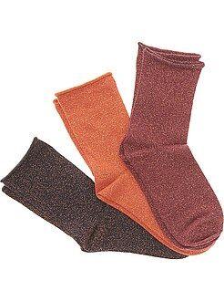 Lingerie du S au XXL Lot 3 paire de chaussettes avec fibre métallique