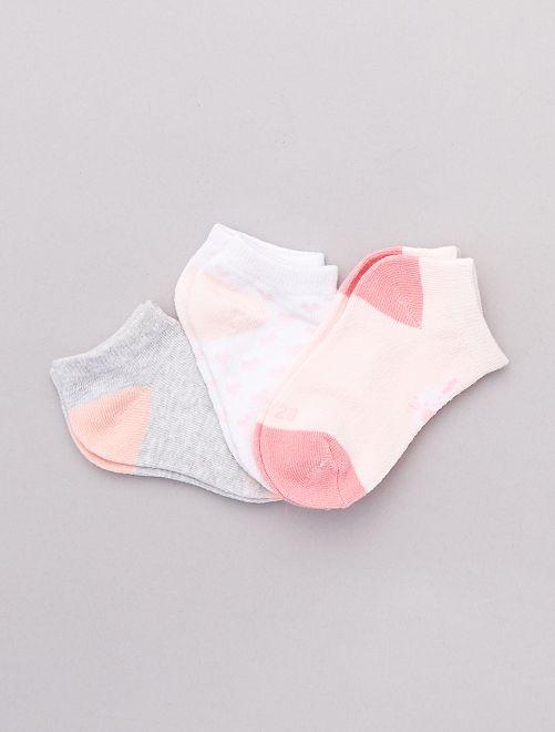Lot 3 paires de chaussettes                             rose/gris