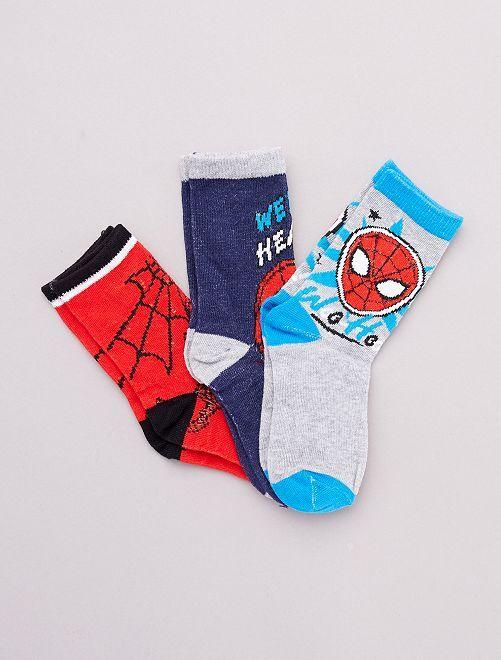 Lot 3 paires de chaussettes 'Spider-Man' 'Marvel'                                         gris