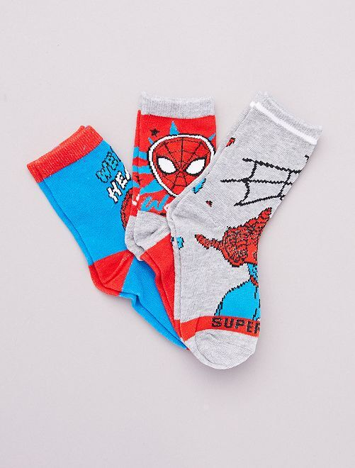 Lot 3 paires de chaussettes 'Spider-Man' 'Marvel'                                         ROUGE